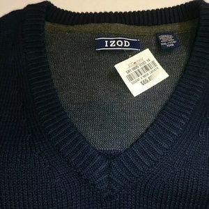 NWT Izod Thick Knit Navy LS V-Neck Sweater  XXL
